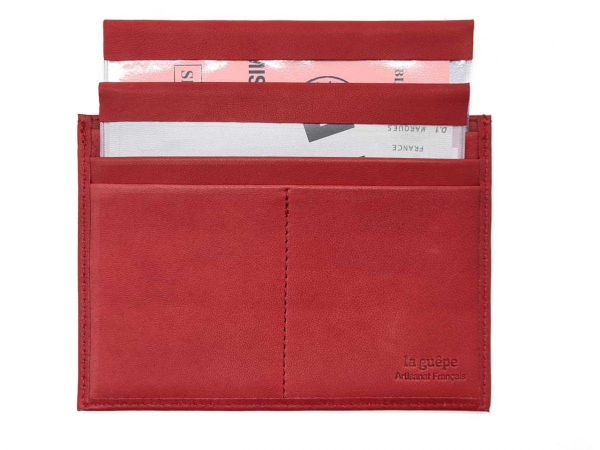 porte papier auto compact luxe tout cuir rouge pm 003 01