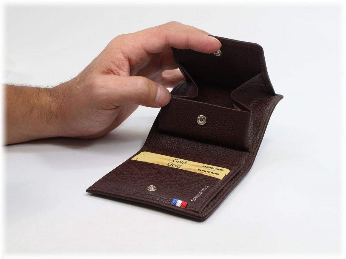 Porte Monnaie Carr 3 Volets En Cuir Marron Pour Homme