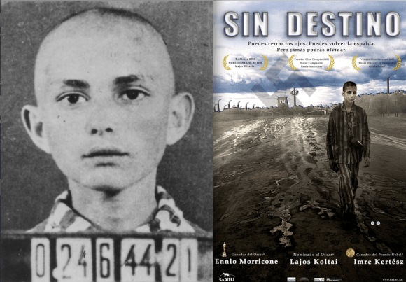 Kertész fue llevado a los campos nazis en 1944. Su novela Sin Destino, es un relato autobiográfico de su desdichada experiencia. Fue llevada al cine or el hungaro Lajos Koltai, que tuvo un reparto con dos ganadores del Oscar.