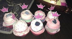 mi morena Cesta de bebé cupcakes