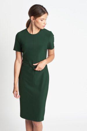 Vestido verde con elegantes costuras y un cinturón extraíble a juego Of Mercer