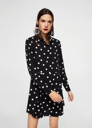 Vestido camisero de lunares de Mango_laselectiva
