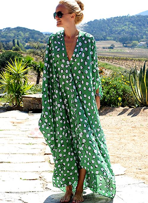 Vestido verde de lunares tipo túnica de Floriday_La Selectiva