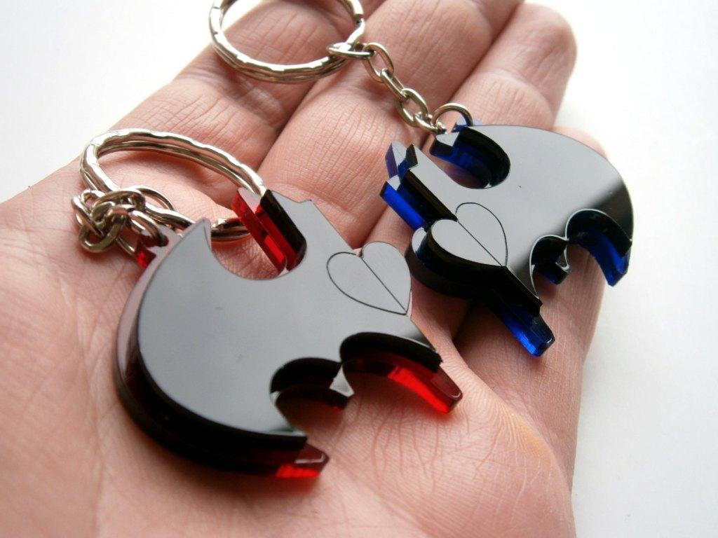 Friendship Keychains - Batman and Robin - Laser Cut Acrylic