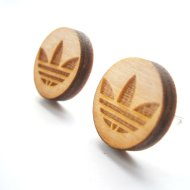 adidas wooden stud earrings