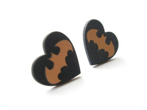 Batman heart stud earrings