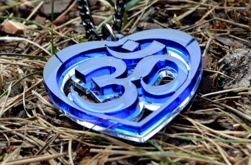 AUM blue Heart necklace
