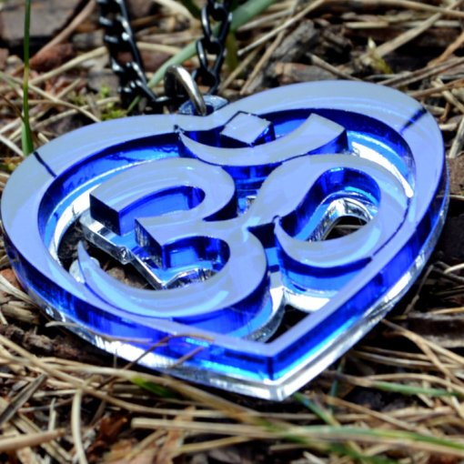 AUM blue Heart necklace