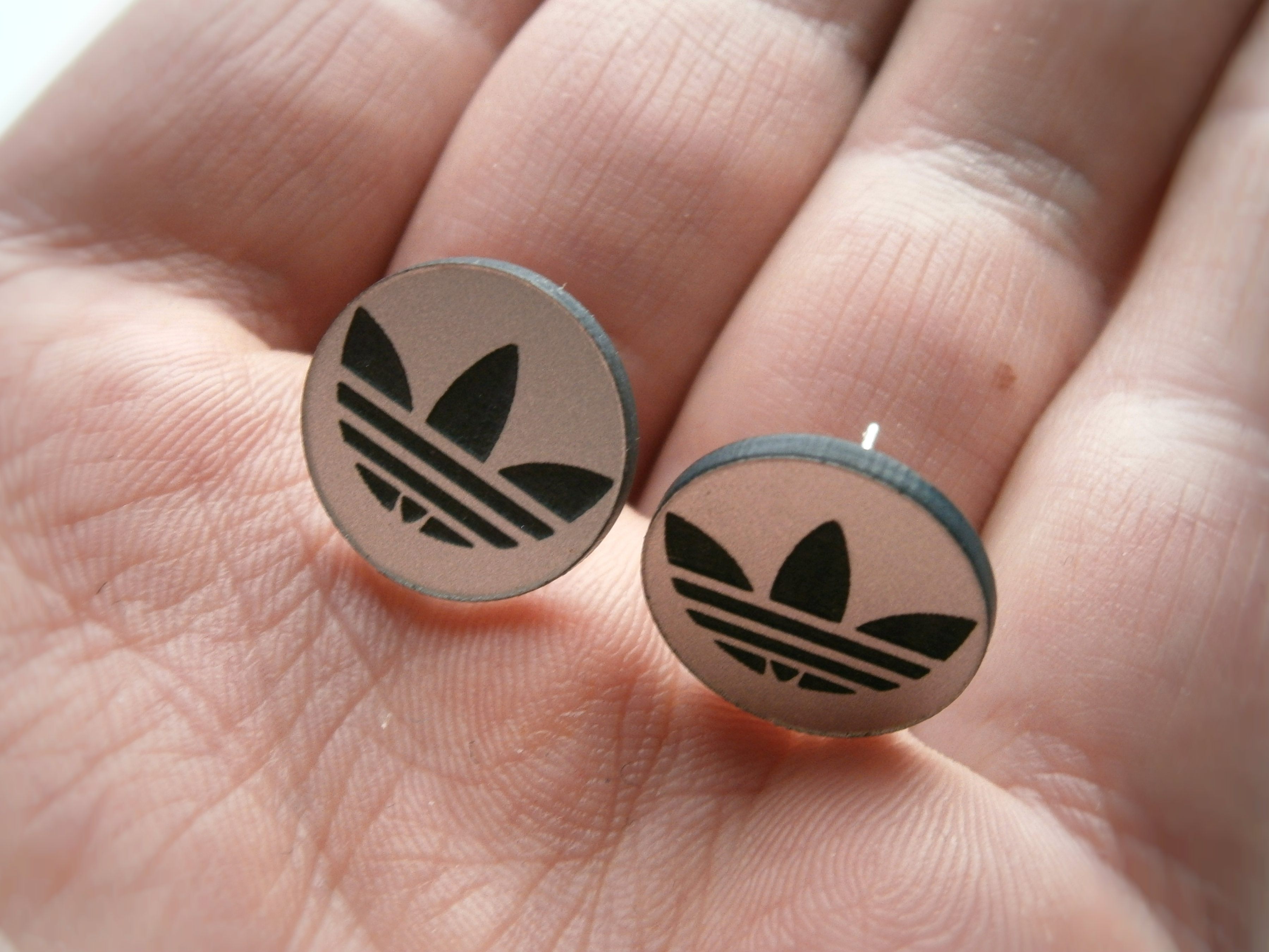 Adidas Stud Earrings Silver Background Engraved Black Adidas