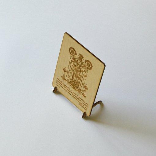 Postcard Vishnu lasercut and engraved from wood perfect gift 3
