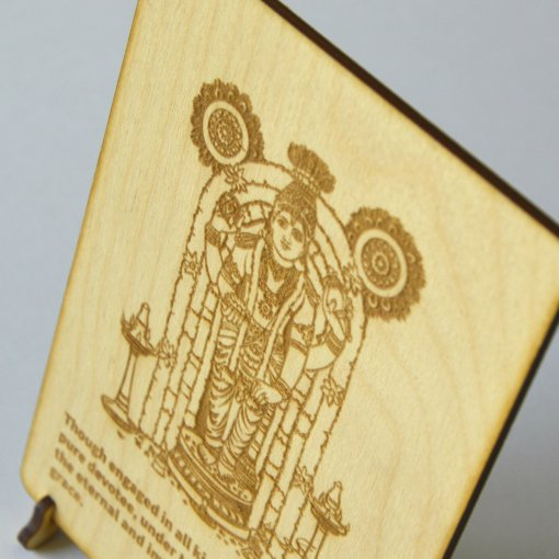 Postcard Vishnu lasercut and engraved from wood perfect gift