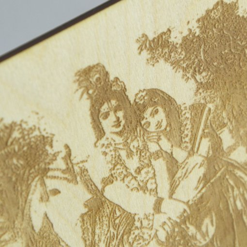 Krishna and Radharani laser cut and engraved postcard