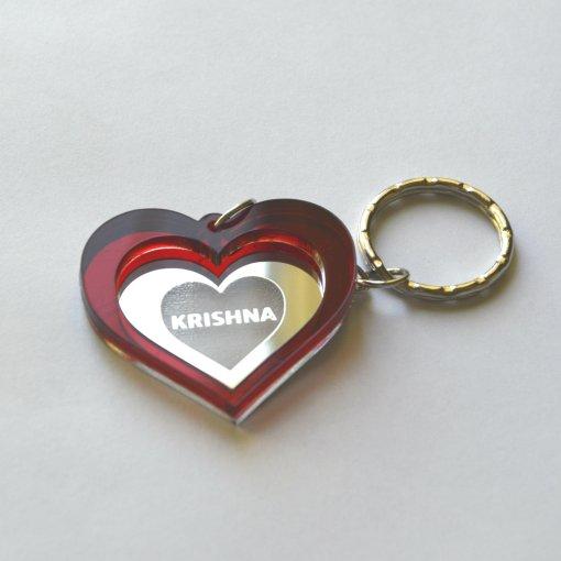 Krishna heart lasercut keychain 1