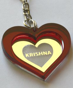 Keychain Krishna Lasercut Heart with red and mirror plastic