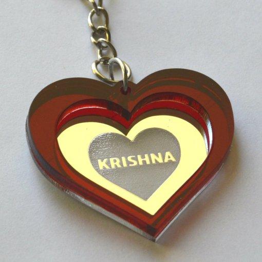 Keychain Krishna Lasercut Heart with red and mirror plastic