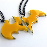 Batman Batwoman couple necklaces Laser cut from mirror and yellow plastic