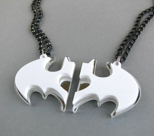 Friendship Batman necklaces Laser cut from mirror and white plastic