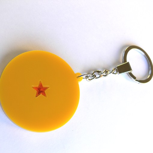 Dragon Ball Z one star ball keychain Laser cut from yellow acrylic plastic