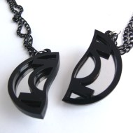 Green Lantern best friends necklaces Laser cut from mirror and black plastic