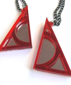 Harry Potter Deathly Hallows best friends necklaces Laser cut from mirror and red plastic