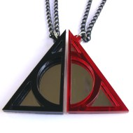 Best friends Harry Potter Deathly Hallows necklaces Laser cut from black and red plastic