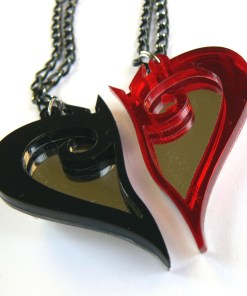 Kingdom Hearts best friends necklaces Laser cut from black and red plastic