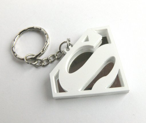 Superman keychain Laser cut white and mirror plastic