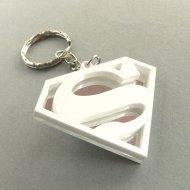 Superman keychain Laser cut white and mirror plastic