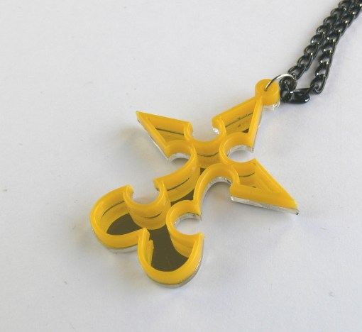 Kingdom Hearts necklace Nobody Emblem Laser cut from mirror and yellow plastic