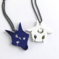 League of Legends Kindred friendship necklaces Laser cut blue and white acrylic