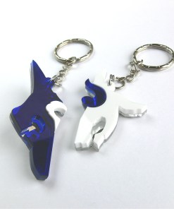 League of Legends Kindred best friends keychains Laser cut blue and white acrylic