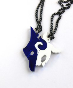 League of Legends Kindred best friends necklaces Laser cut blue and white acrylic