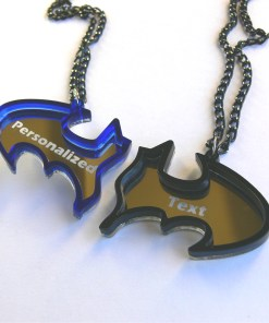 Batman best friends personalized text necklaces Laser cut from blue and black acrylic