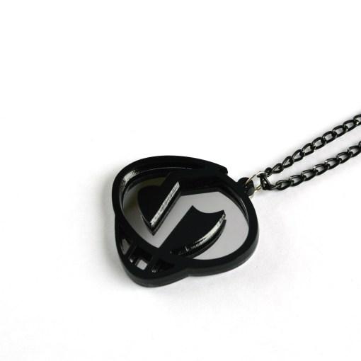 Team Skull necklace Laser cut mirror and black acrylic