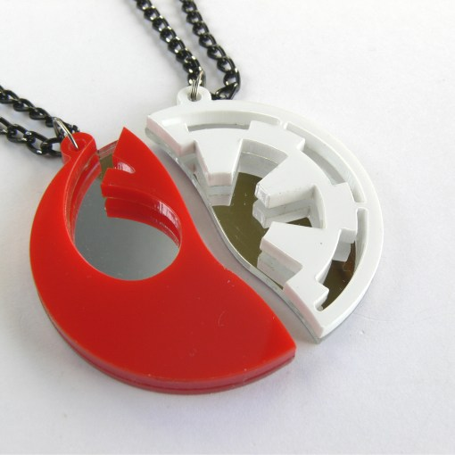Star Wars Rebels Empire best friends necklaces Laser cut from red and white plastic