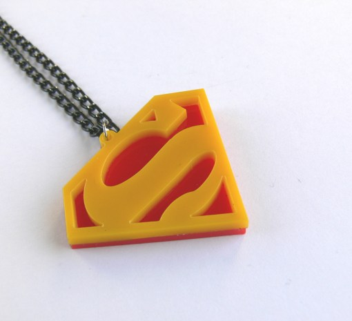 Superman symbol necklace Laser cut red and yellow plastic pendant