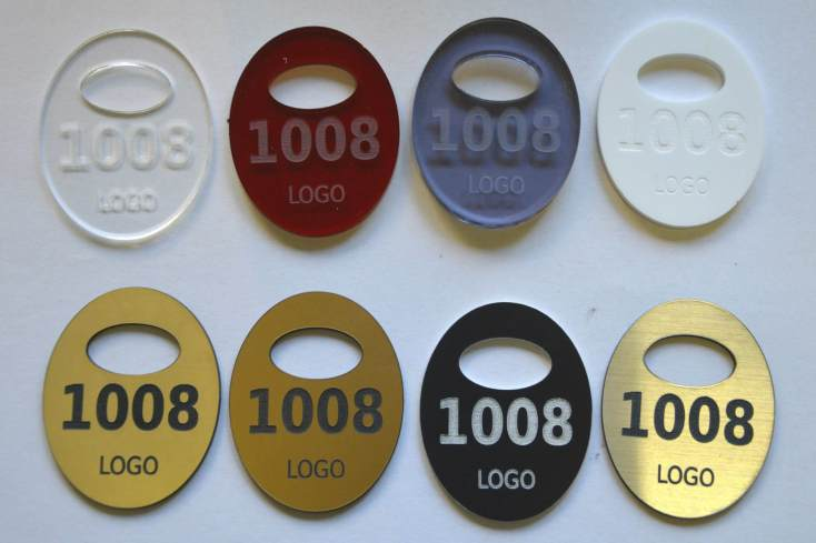 Laser engraved cloakroom numbers