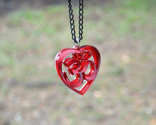 AUM red heart necklace pendant 1