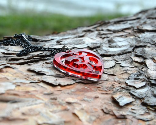 AUM red heart necklace pendant 3
