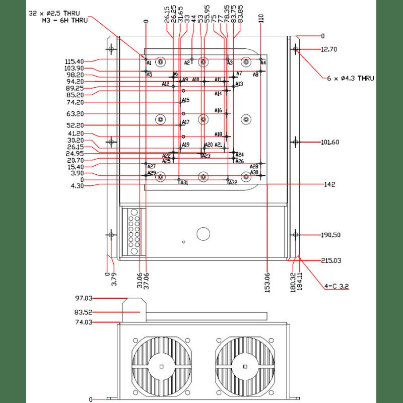 150 watt laser diode heat sink with tec temperature stabilization