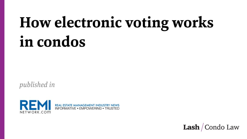 How electronic voting works in condos