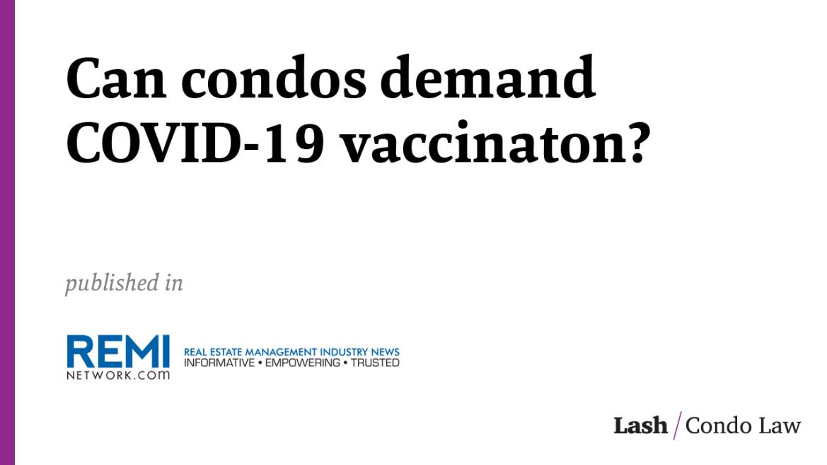 Can condos demand COVID-19 vaccination?