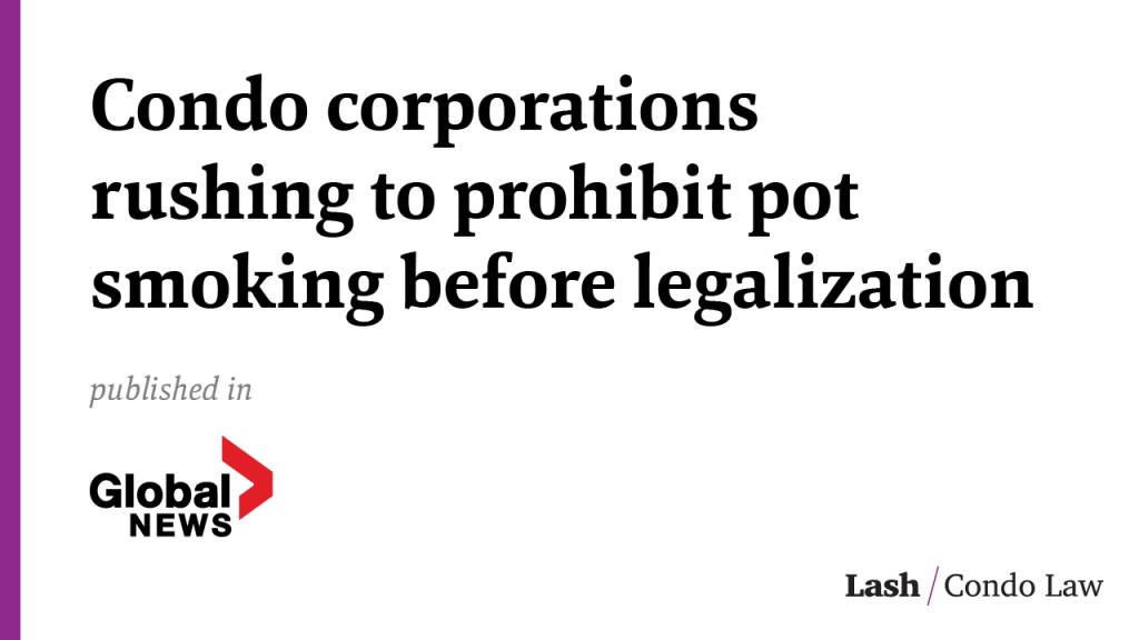 Condo corporations rushing to prohibit pot smoking before legalization