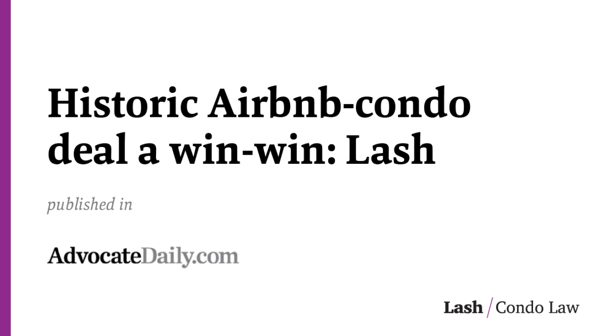 Historic Airbnb-condo deal a win-win: Lash
