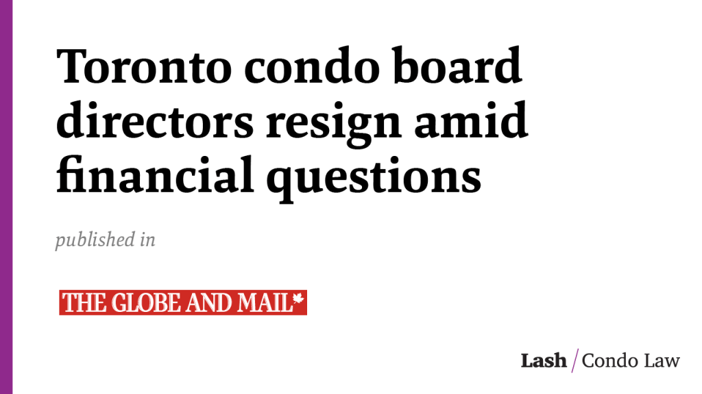 Toronto condo board directors resign amid financial questions