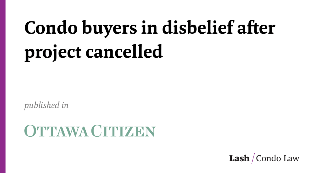 Condo buyers in disbelief after project cancelled