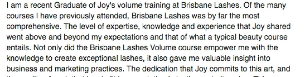 Eyelash Extension Training Testimonial