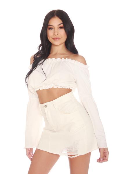 Image result for la sisters denim skirt sleeve top
