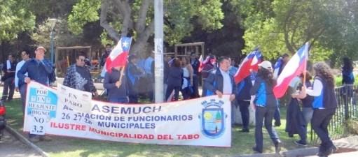Municipales manifestándose