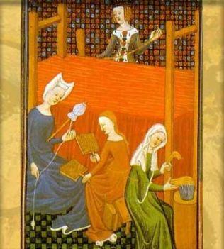 mujeres hilando y tejiendo